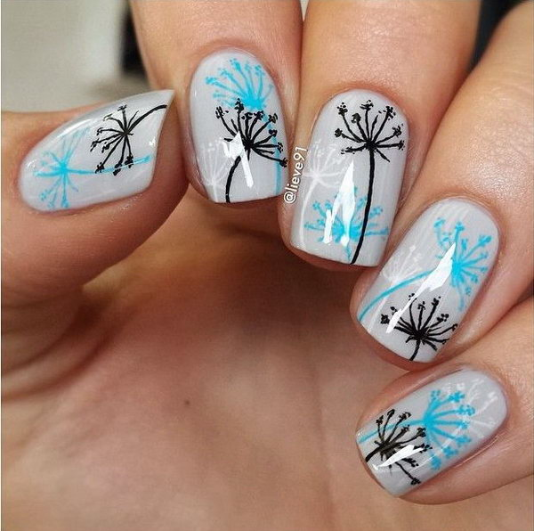 7 dandelion nail art - Cute Dandelion Nail Art Designs