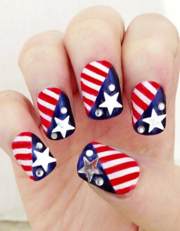 11 american flag stripes stars nails - 30+ American Flag Inspired Stripes and Stars Nail Ideas & Tutorials