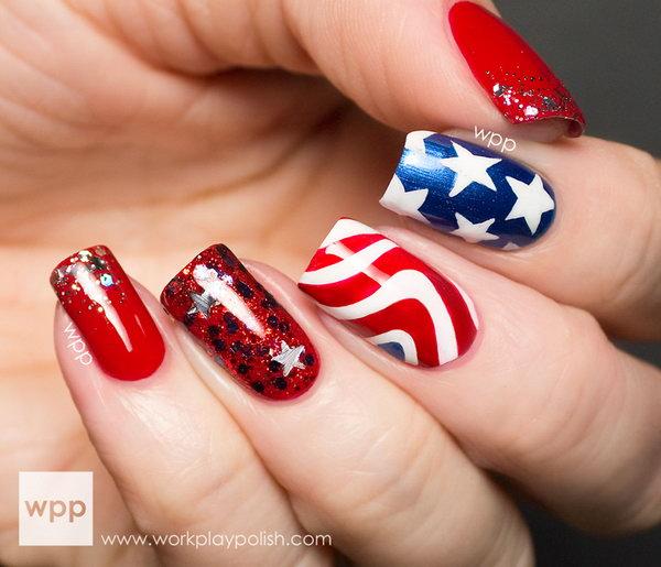 12 american flag stripes stars nails - 30+ American Flag Inspired Stripes and Stars Nail Ideas & Tutorials