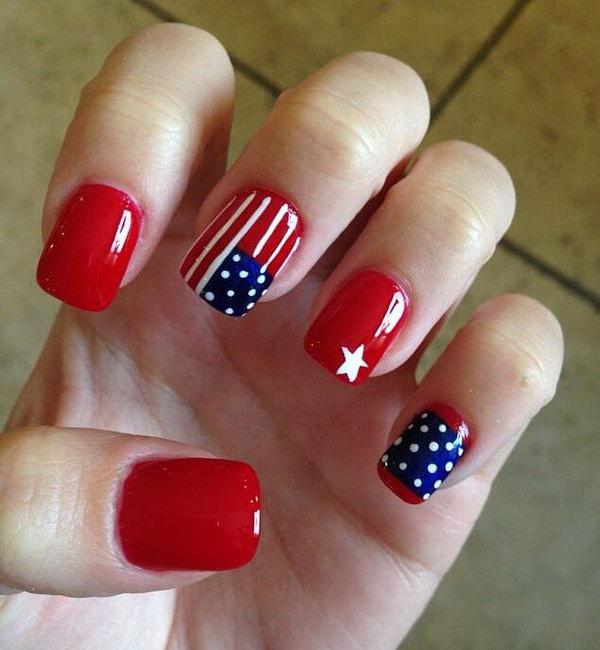 23 american flag stripes stars nails - 30+ American Flag Inspired Stripes and Stars Nail Ideas & Tutorials