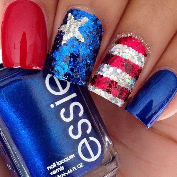 3 american flag stripes stars nails - 30+ American Flag Inspired Stripes and Stars Nail Ideas & Tutorials