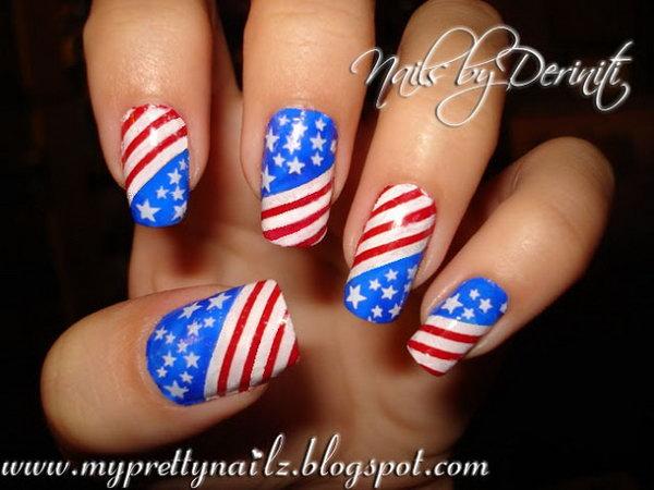 6 american flag stripes stars nails - 30+ American Flag Inspired Stripes and Stars Nail Ideas & Tutorials
