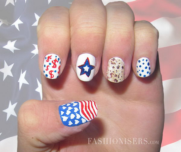 22 cute 4th of july patriotic nail art - 36 Cute 4th of July Patriotic Nail Art Ideas