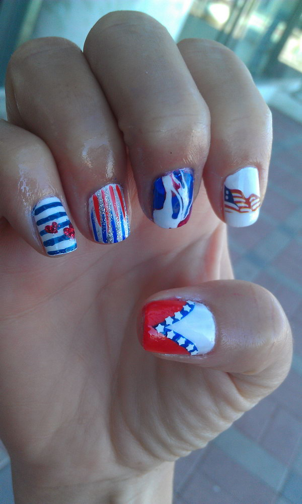 31 cute 4th of july patriotic nail art - 36 Cute 4th of July Patriotic Nail Art Ideas