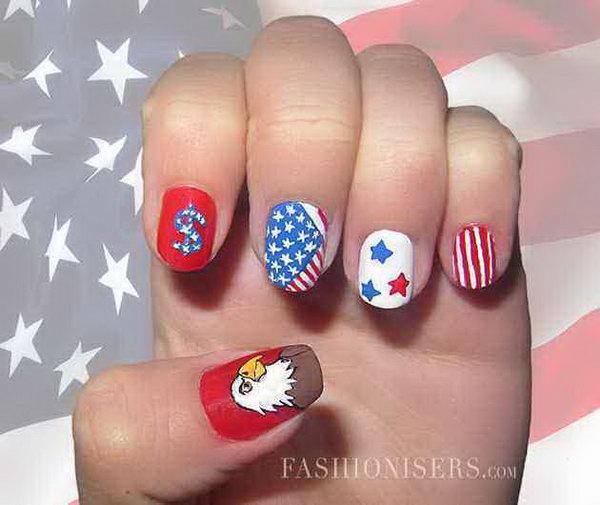 8 cute 4th of july patriotic nail art - 36 Cute 4th of July Patriotic Nail Art Ideas