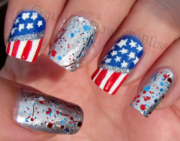11 glitter 4th of july nails - 20+ Glitter 4th of July Nail Art Ideas & Tutorials