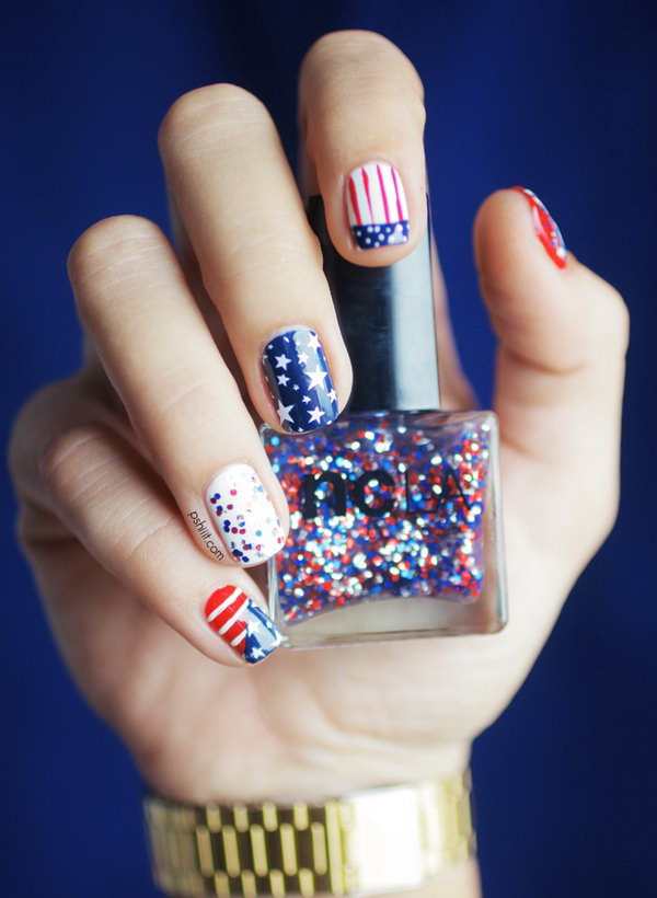 2 glitter 4th of july nails - 20+ Glitter 4th of July Nail Art Ideas & Tutorials