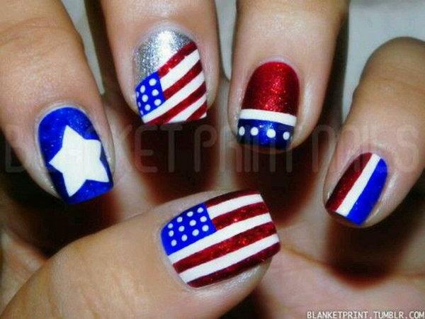 23 glitter 4th of july nails - 20+ Glitter 4th of July Nail Art Ideas & Tutorials