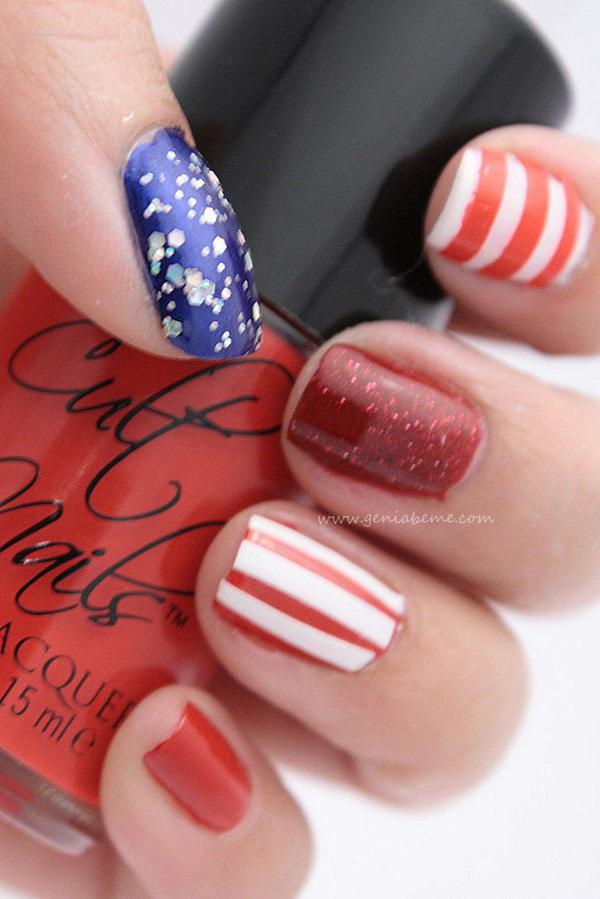 25 glitter 4th of july nails - 20+ Glitter 4th of July Nail Art Ideas & Tutorials