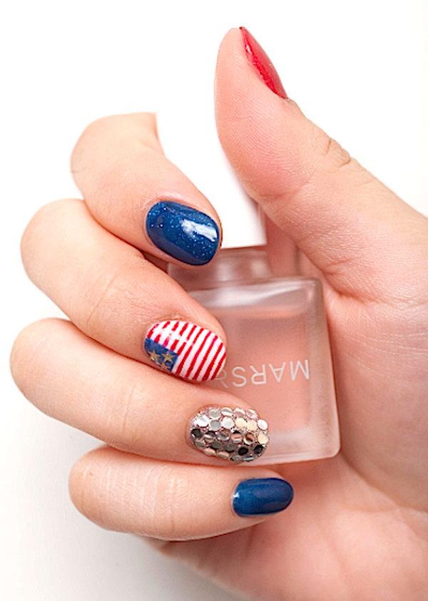 28 glitter 4th of july nails - 20+ Glitter 4th of July Nail Art Ideas & Tutorials