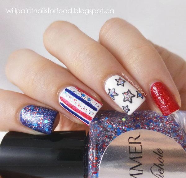 6 glitter 4th of july nails - 20+ Glitter 4th of July Nail Art Ideas & Tutorials
