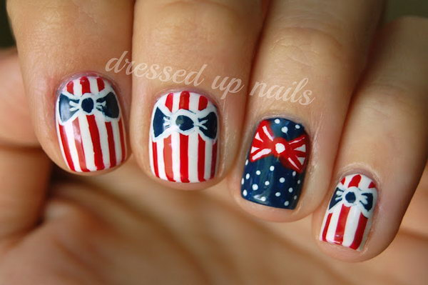 10 bow nail design ideas - 45 Wonderful Bow Nail Art Designs