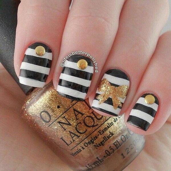23 bow nail design ideas - 45 Wonderful Bow Nail Art Designs