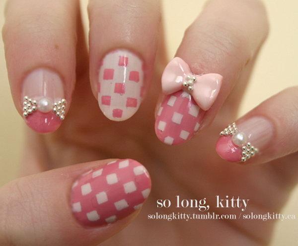 28 bow nail design ideas - 45 Wonderful Bow Nail Art Designs