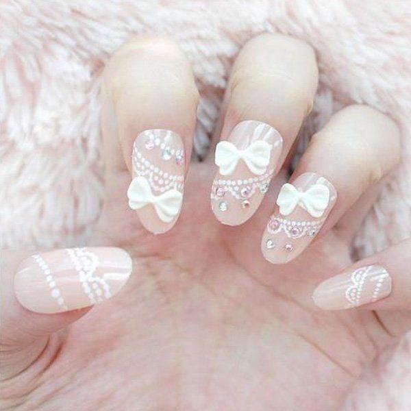 29 bow nail design ideas - 45 Wonderful Bow Nail Art Designs