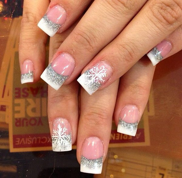 White And Silver Nail Art With Snowflake