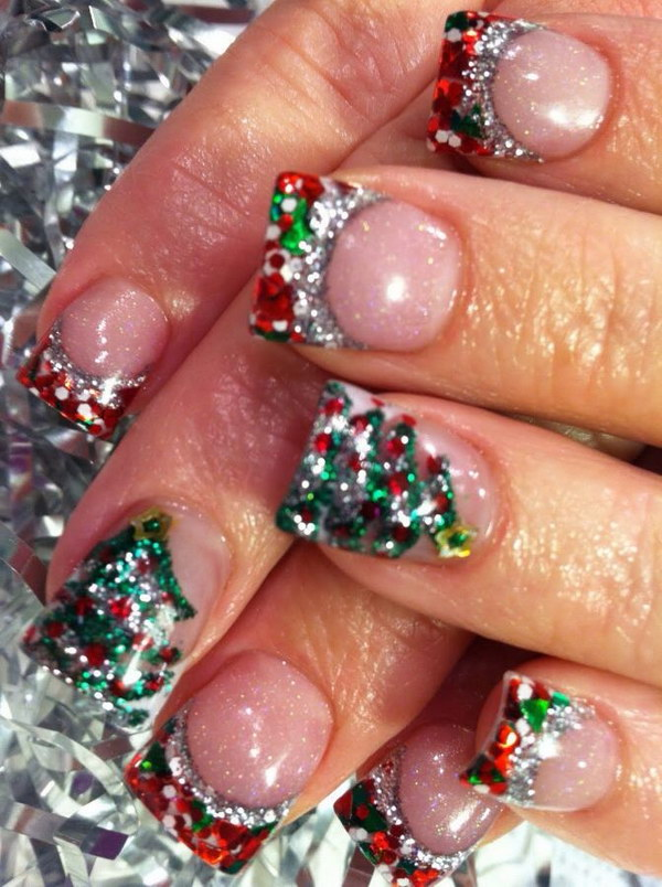 Christmas Themed Glitter Nails