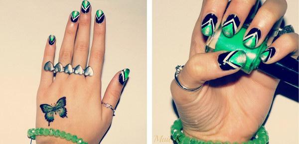 2 green nail art designs - 100+ Awesome Green Nail Art Designs