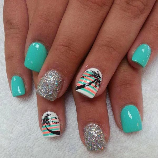 Tropical Nail Art Design With Palm Trees