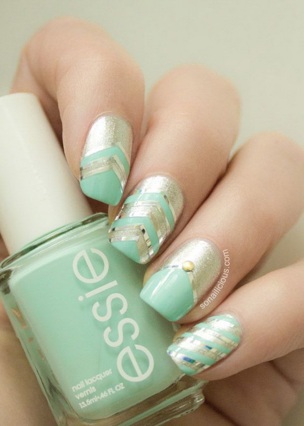 Essie Mint Candy Apple With Silver Nails