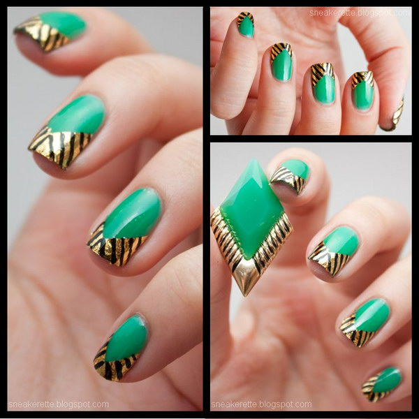 Elegant Emerald Green Nails With Gold Tips