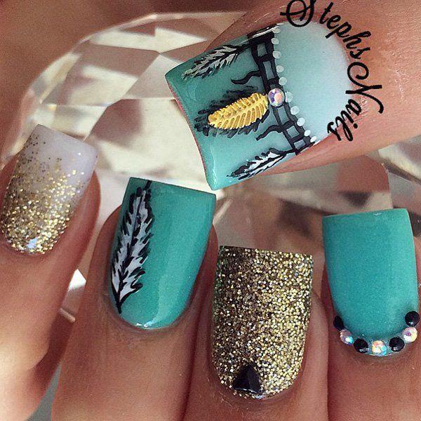 50 green nail art designs - 100+ Awesome Green Nail Art Designs