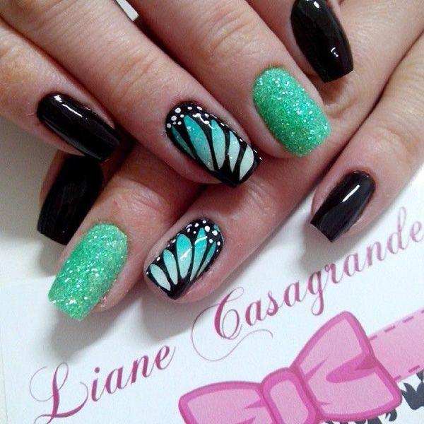 64 green nail art designs - 100+ Awesome Green Nail Art Designs