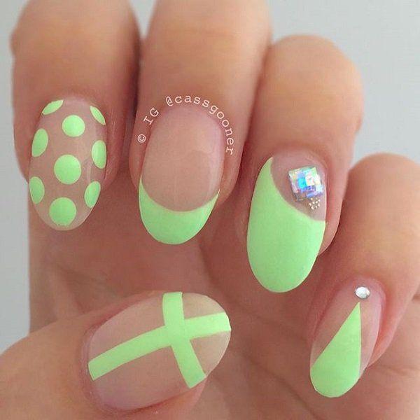 66 green nail art designs - 100+ Awesome Green Nail Art Designs