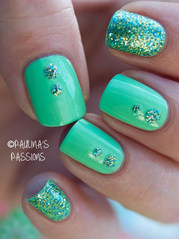 69 green nail art designs - 100+ Awesome Green Nail Art Designs