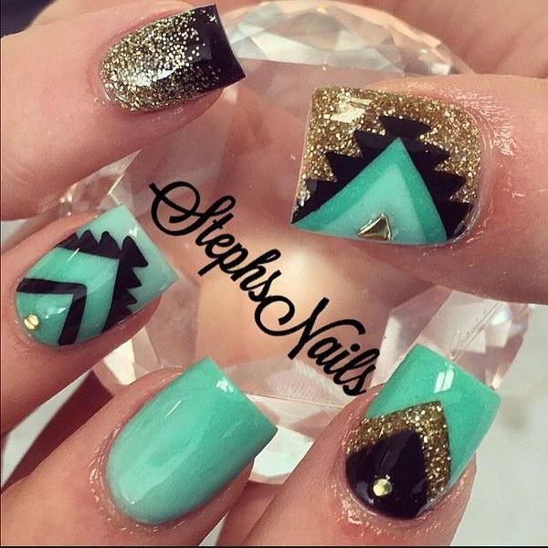 8 green nail art designs - 100+ Awesome Green Nail Art Designs