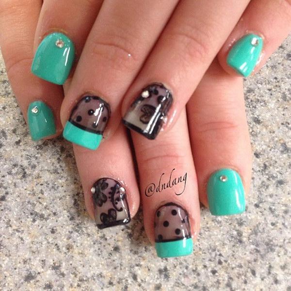 87 green nail art designs - 100+ Awesome Green Nail Art Designs