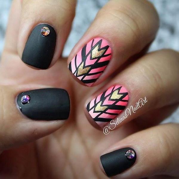 Tribal Inspired Black Matte Nail Art Design