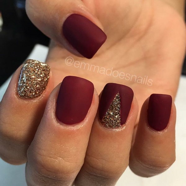 Red And Gold Glitter Matte Nail Art
