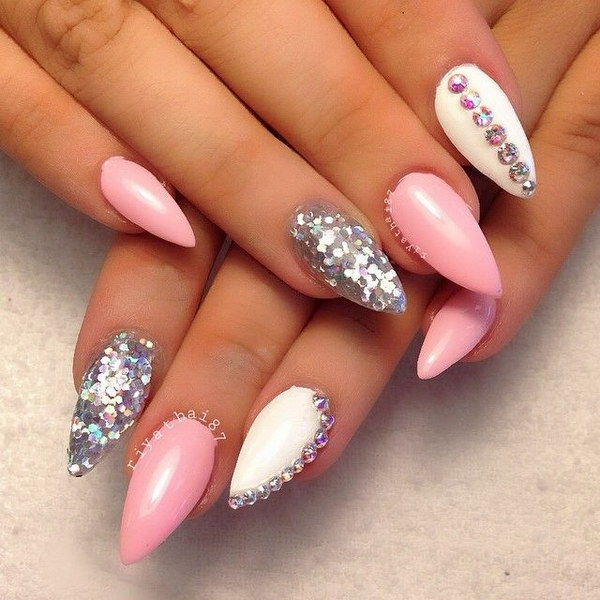 Pink White And Silver Nail Art With Rhinestones Accents