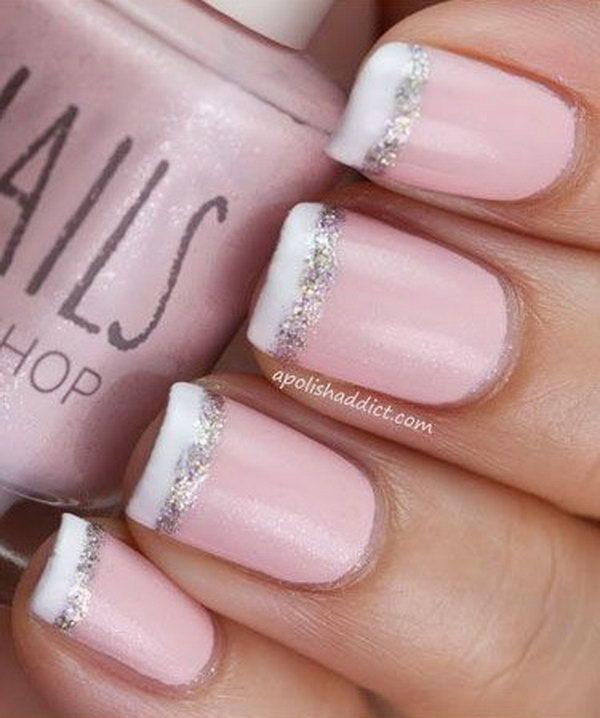 Baby Pink French Nail Tipped With White And Glitter