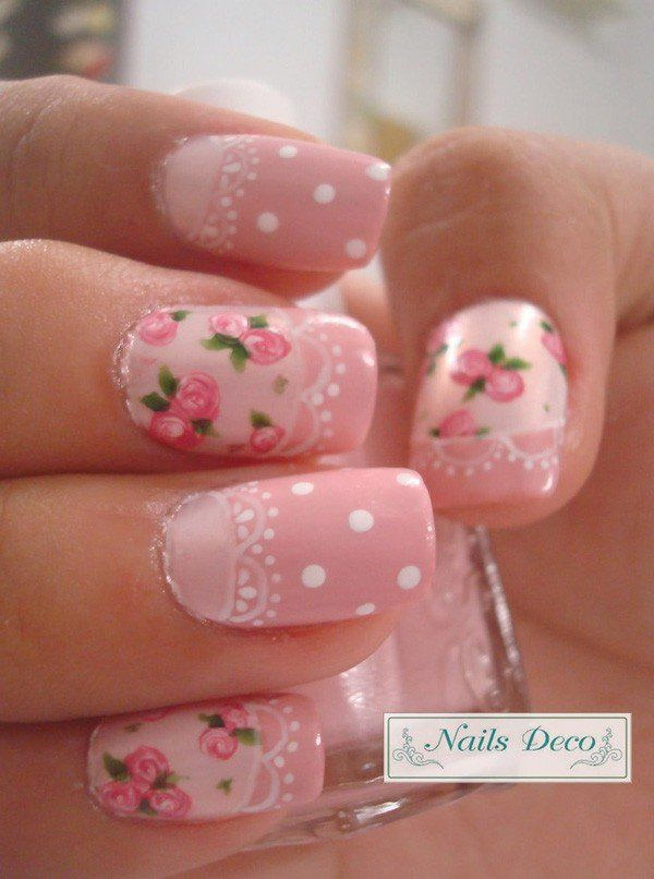 21 pink and white nail art designs - 50 Lovely Pink and White Nail Art Designs
