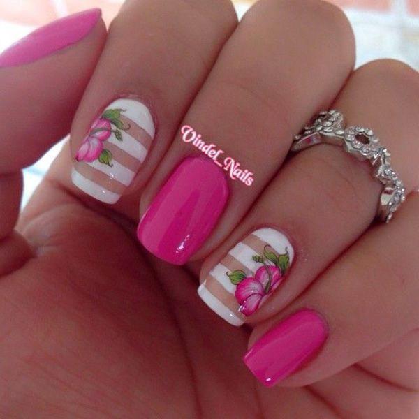 Strips Flower Spring Nail Design