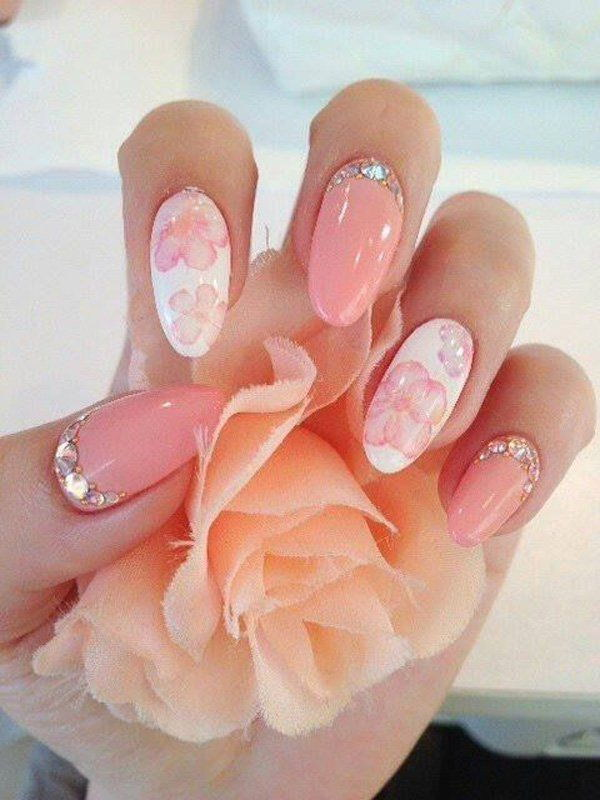 28 pink and white nail art designs - 50 Lovely Pink and White Nail Art Designs