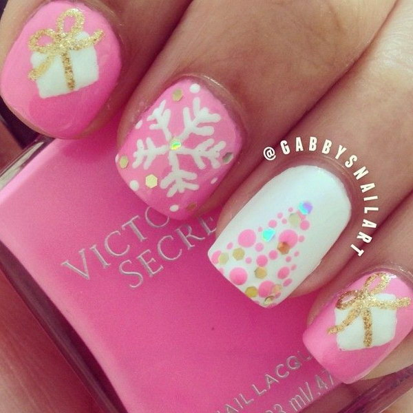 37 pink and white nail art designs - 50 Lovely Pink and White Nail Art Designs