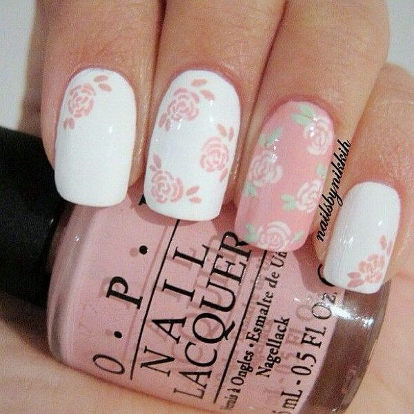 38 pink and white nail art designs - 50 Lovely Pink and White Nail Art Designs