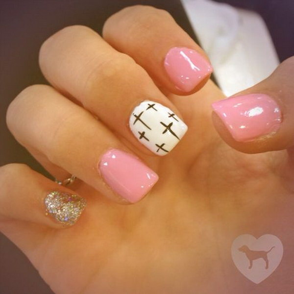 45 pink and white nail art designs - 50 Lovely Pink and White Nail Art Designs