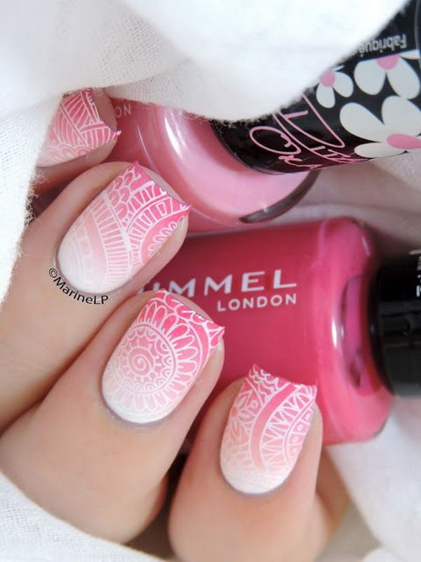 6 pink and white nail art designs - 50 Lovely Pink and White Nail Art Designs