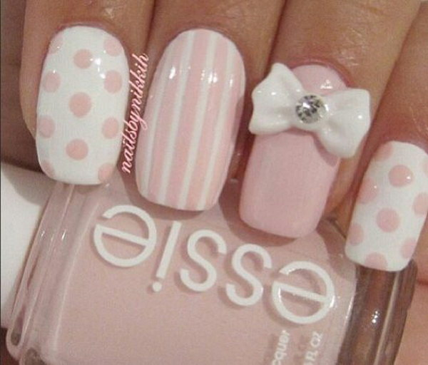 8 pink and white nail art designs - 50 Lovely Pink and White Nail Art Designs