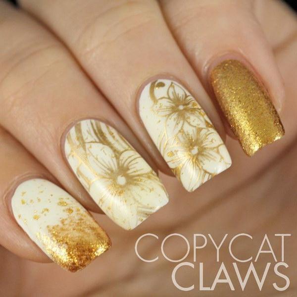 Beautiful White Gold Fl Nail Art