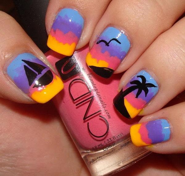 15 beach nail art - 30+ Beach Themed Nail Art Designs