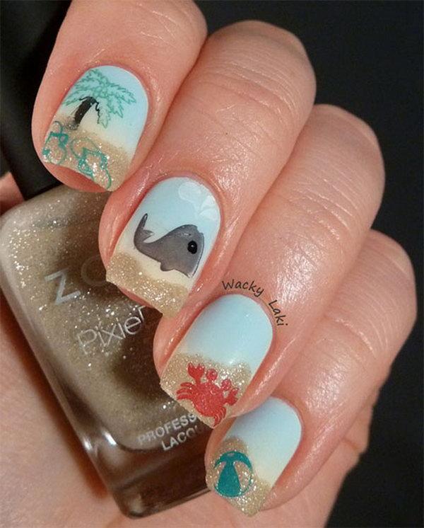 17 beach nail art - 30+ Beach Themed Nail Art Designs