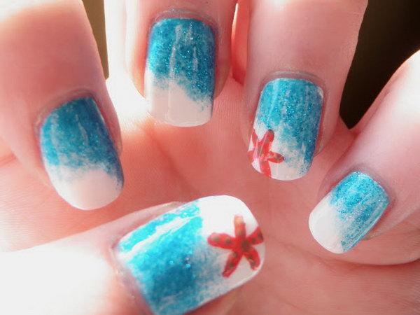 19 beach nail art - 30+ Beach Themed Nail Art Designs