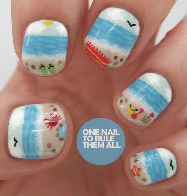 22 beach nail art - 30+ Beach Themed Nail Art Designs