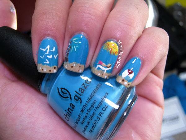 25 beach nail art - 30+ Beach Themed Nail Art Designs