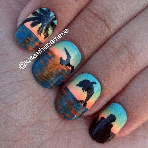 27 beach nail art - 30+ Beach Themed Nail Art Designs
